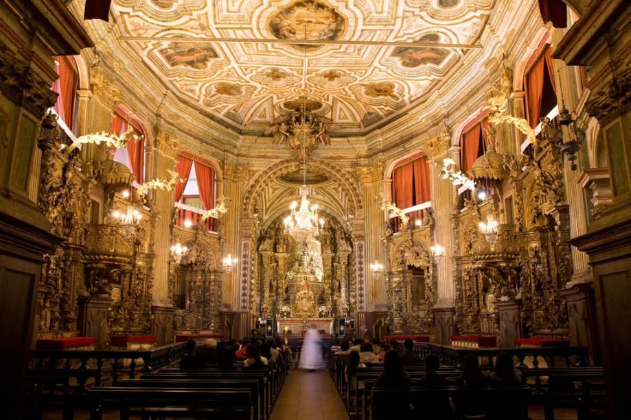 Interior da Igreja Matriz de Nossa Senhora do Pilar, um dos maiores exemplares da arte barroca no Brasil