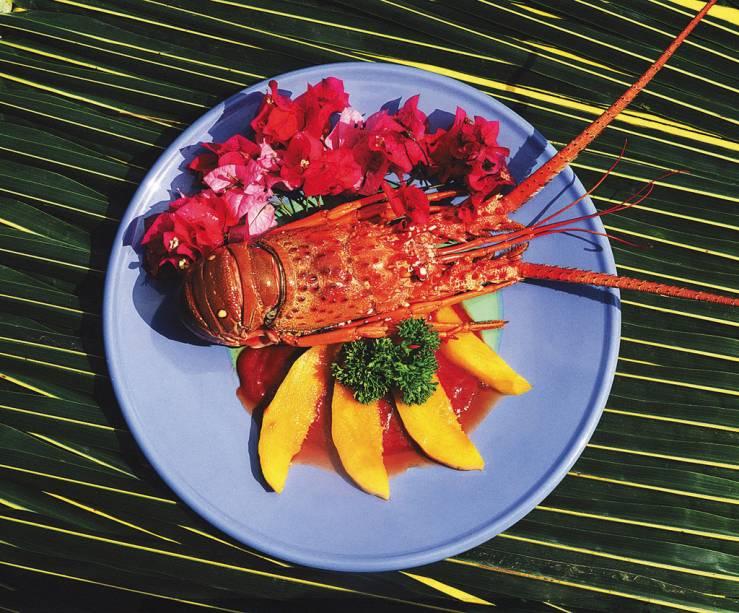Molho de lagosta frita com manteiga, rodelas de manga grelhada e temperos, prato no céu estrelado do Beijupirá