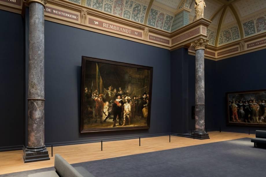 "A Ronda Noturna de Rembrandt van Rijn, o culminar de""http://viajeaqui.abril.com.br/estabelecimentos/holanda-amsterda-atracao-rijksmuseum"" rel =""Rijksmuseum"" Objetivo =""_vazio""> Rijksmuseum"" class=""lazyload"" data-pin-nopin=""true""/></div> <p class="