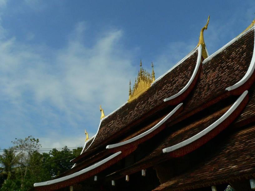 Detalhe do templo Wat Xieng Thong, também conhecido como Templo da Cidade Dourada
