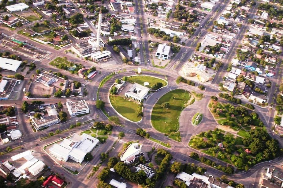 A vista aérea do Centro Cívico da Boa Vista mostra que a cidade foi desenhada em leque.