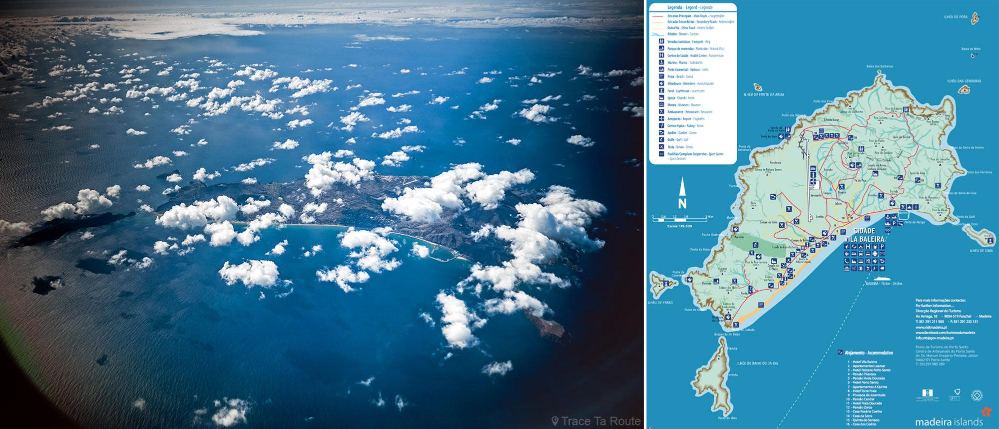 Mapa da ilha do Porto Santo da Madeira + vista aérea do avião sobre o Atlântico - Mapa das ilhas da Madeira