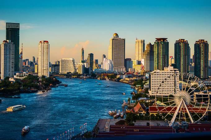 Bangkok e o rio Chao Phraya, Tailândia