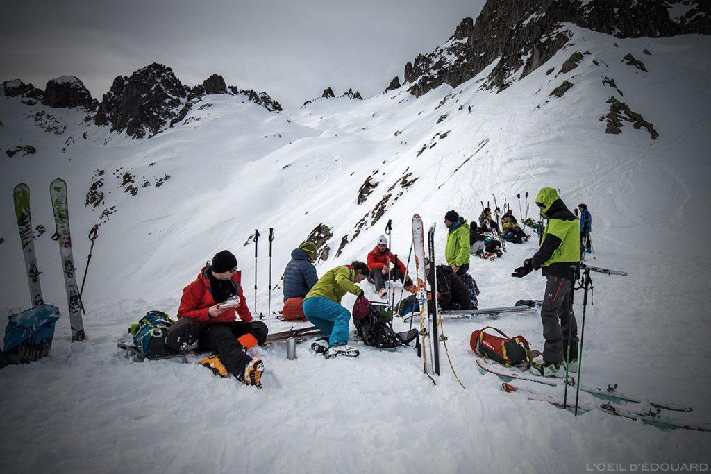 Passeios de esqui no Col de la Valette no maciço Lauzière
