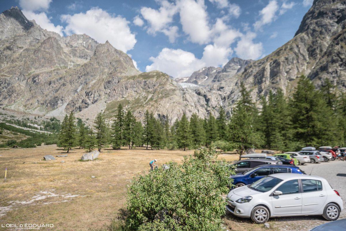 Estacionamento Pré de Madame Carle Vallouise Pelvoux Massif des Ecrins Hautes-Alpes França Paisagem montanhosa - paisagem montanhosa Alpes franceses caminhada caminhada ao ar livre