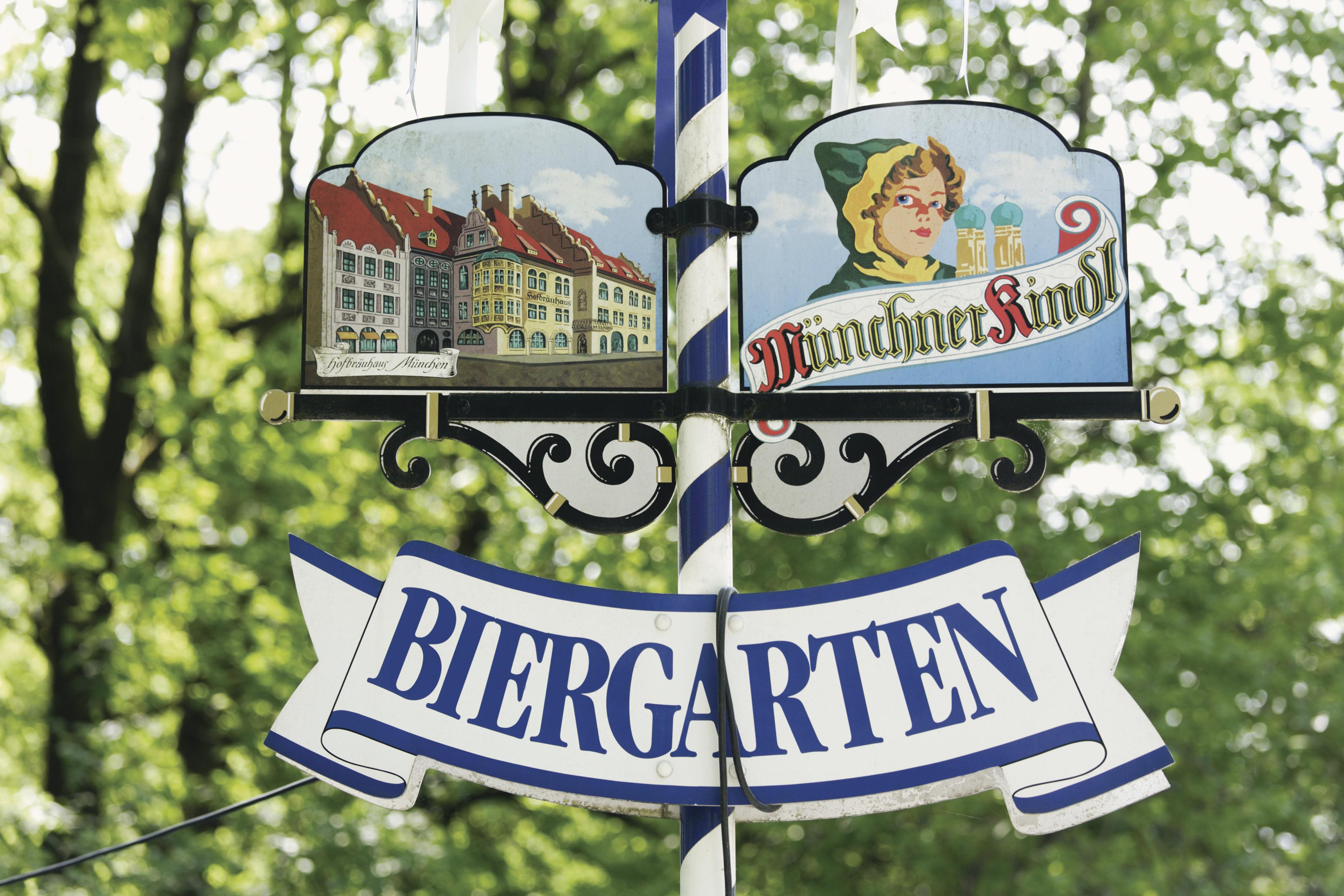 Placa de jardim da cerveja, Munique, Alemanha