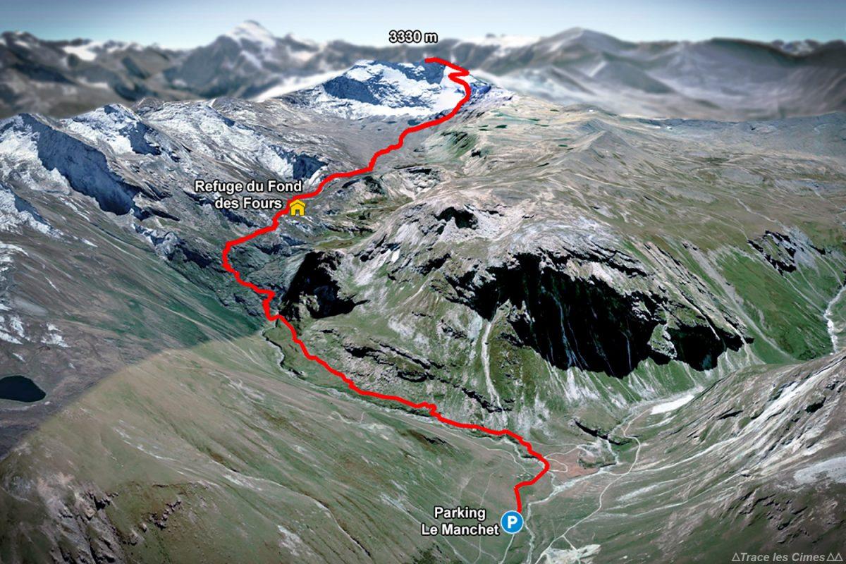 Siga a trilha de caminhada Refuge du Fond des Fours e Pointe de Méan Martin do estacionamento Manchet - Maciço de la Vanoise, Alpes montanhosos Caminhadas nas montanhas