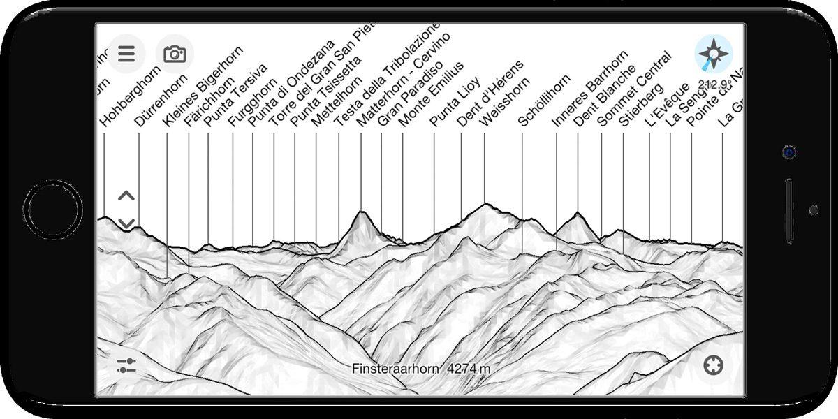 PeakFinder Mountain Name App - captura de tela do smartphone