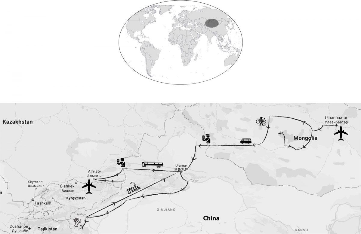 Mapa de viagens da Mongólia China Cazaquistão Ãsia Mongólia China Mapa de viagens da Ãsia