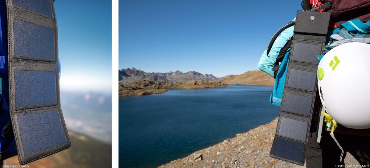 Carregador solar Sunslice Photon para módulos fotovoltaicos para caminhadas nas montanhas e excursões nas montanhas