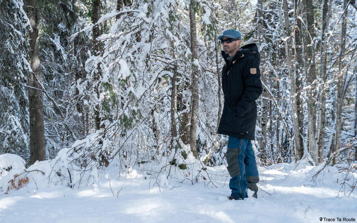Jaqueta de teste Fjällräven Singi jaqueta parka acolchoada em lã inverno neve floresta avaliação externa