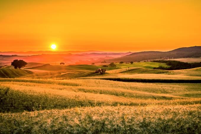 Toscana Itália verão pôr do sol