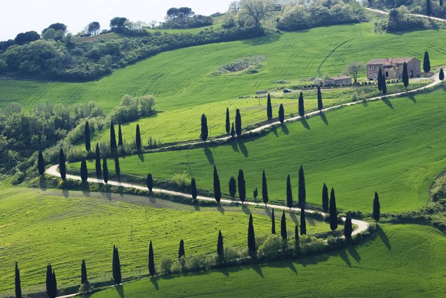 Paisagem típica da Toscana com ciprestes e casas de tijolos