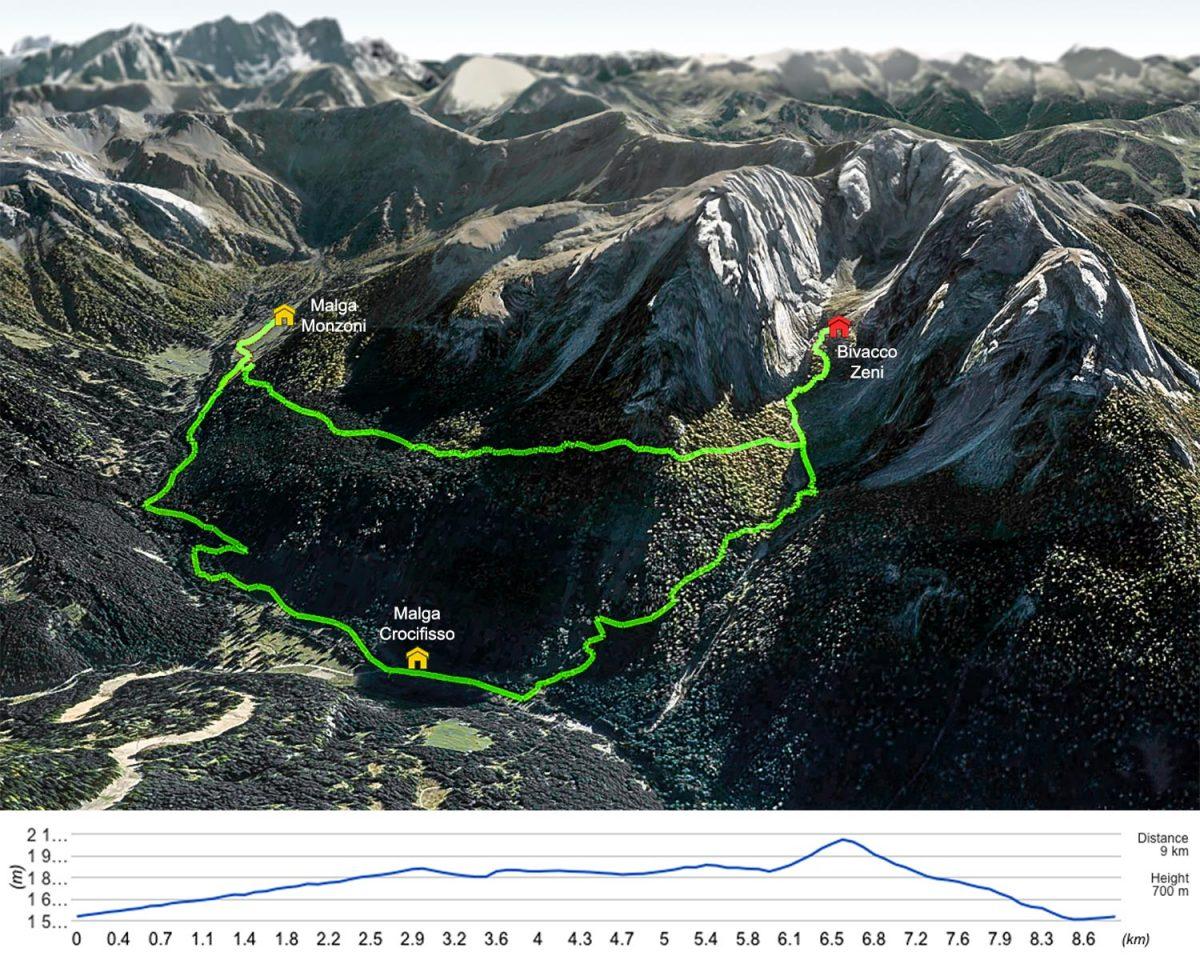 Trilha de caminhada para o acampamento Zeni de Malga Crocifisso - Dolomitas, Itália
