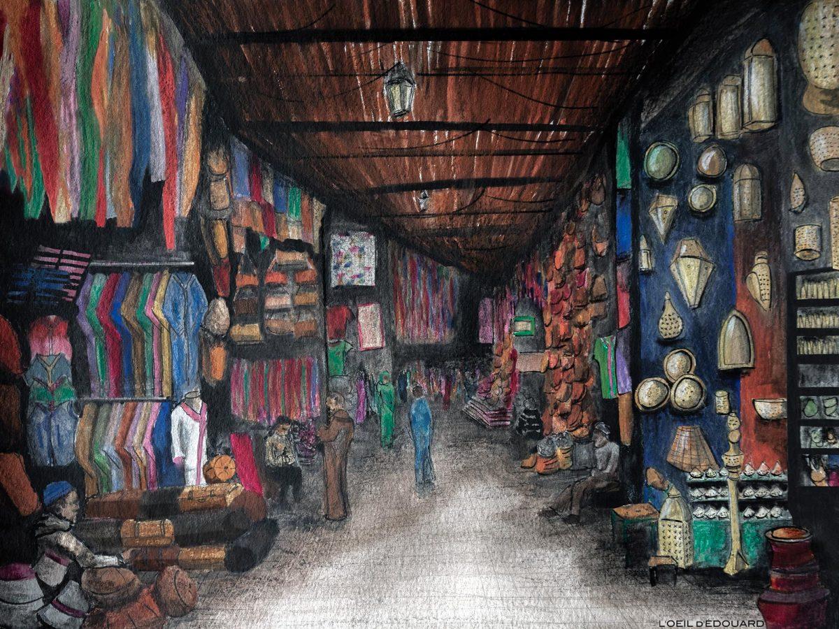 Os souks de Marrakech na medina, Marrocos / Marrakech, Marrocos - aquarela © L'Oeil d'Édouard - Todos os direitos reservados