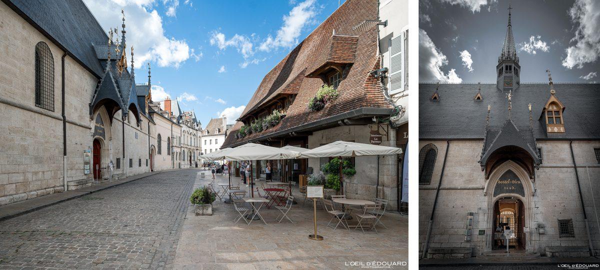 Arquitetura da entrada do Hotel-Dieu Hospices de Beaune Burgundy França